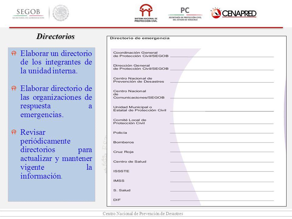 Centro Nacional de Prevención de Desastres Directorios Elaborar un directorio de los integrantes de la unidad interna. Elaborar directorio de las orga