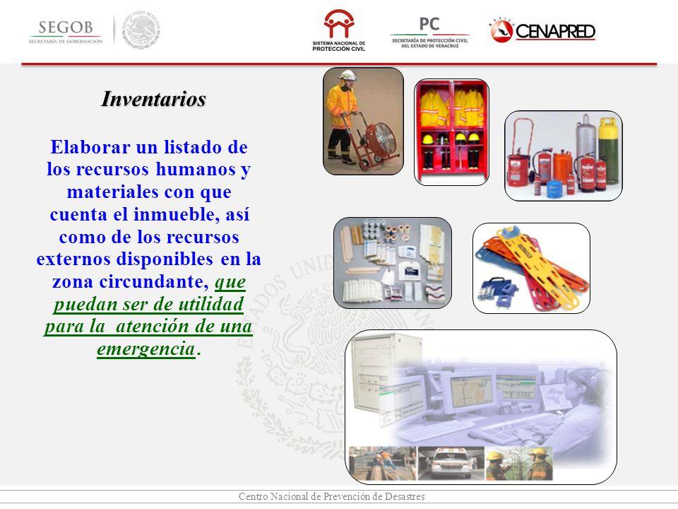 Centro Nacional de Prevención de Desastres Inventarios Elaborar un listado de los recursos humanos y materiales con que cuenta el inmueble, así como d