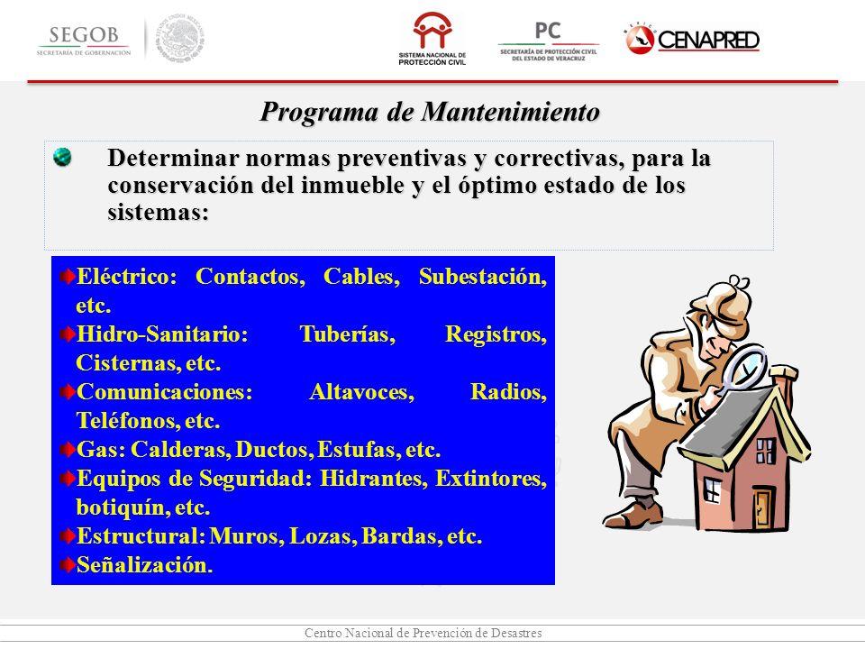 Centro Nacional de Prevención de Desastres Programa de Mantenimiento Determinar normas preventivas y correctivas, para la conservación del inmueble y
