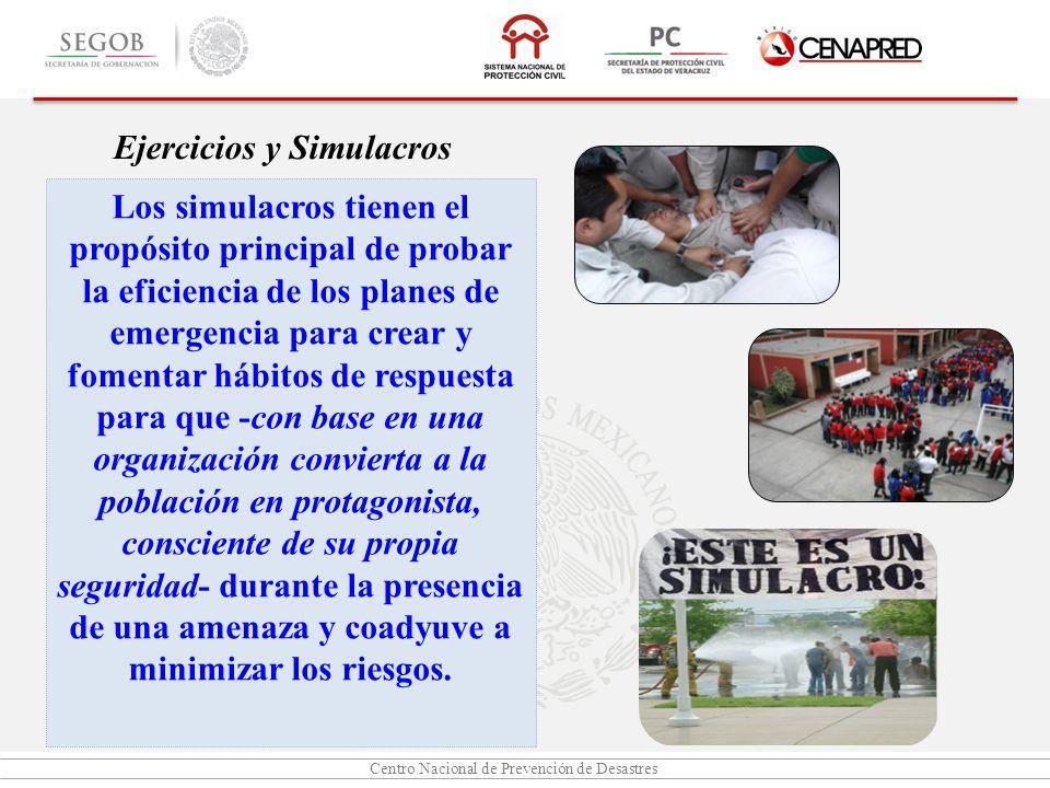 Centro Nacional de Prevención de Desastres Ejercicios y Simulacros Los simulacros tienen el propósito principal de probar la eficiencia de los planes