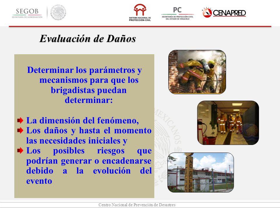 Centro Nacional de Prevención de Desastres Determinar los parámetros y mecanismos para que los brigadistas puedan determinar: La dimensión del fenómen