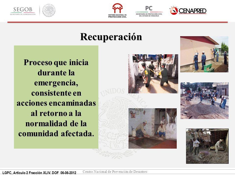 Centro Nacional de Prevención de Desastres Recuperación Proceso que inicia durante la emergencia, consistente en acciones encaminadas al retorno a la