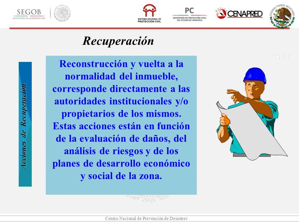 Centro Nacional de Prevención de Desastres Reconstrucción y vuelta a la normalidad del inmueble, corresponde directamente a las autoridades institucio