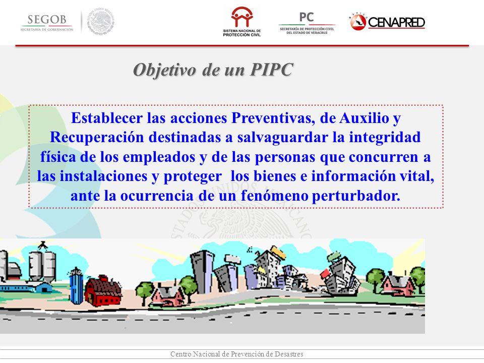 Centro Nacional de Prevención de Desastres Establecer las acciones Preventivas, de Auxilio y Recuperación destinadas a salvaguardar la integridad físi