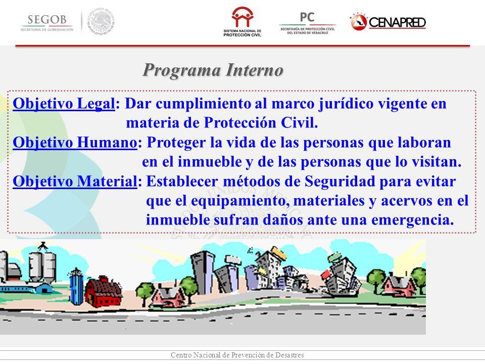 Centro Nacional de Prevención de Desastres Objetivo Legal: Dar cumplimiento al marco jurídico vigente en materia de Protección Civil. Objetivo Humano: