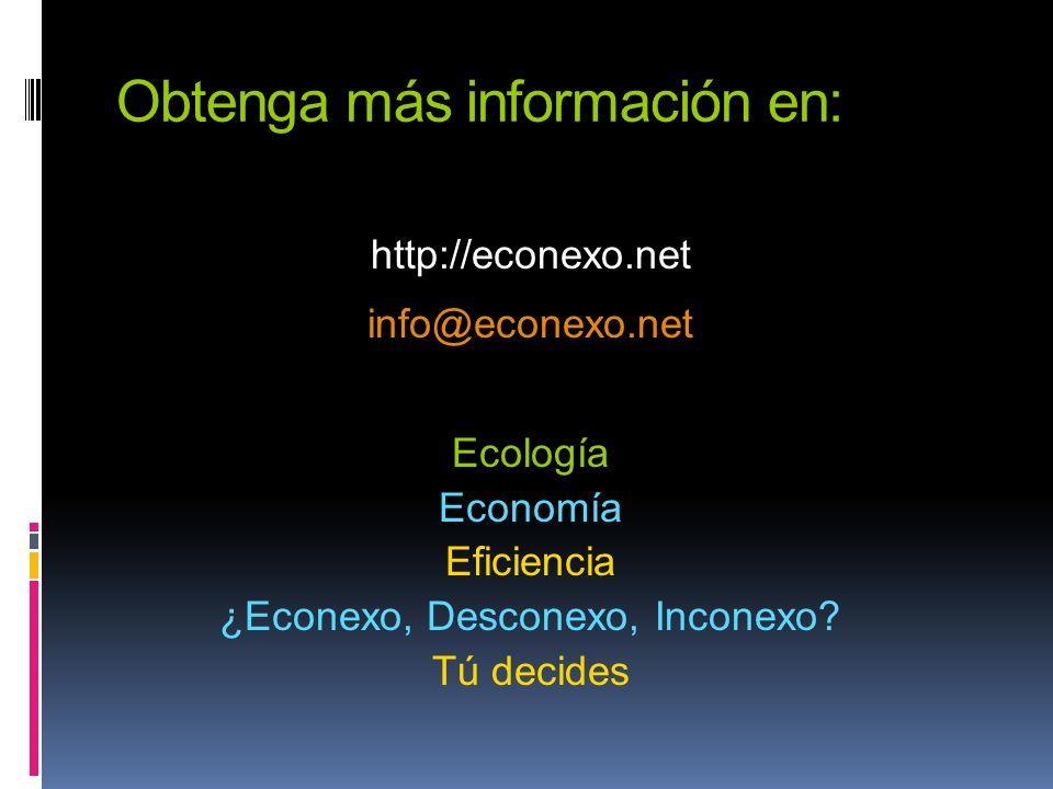 Obtenga más información en: http://econexo.net info@econexo.net Ecología Economía Eficiencia ¿Econexo, Desconexo, Inconexo? Tú decides