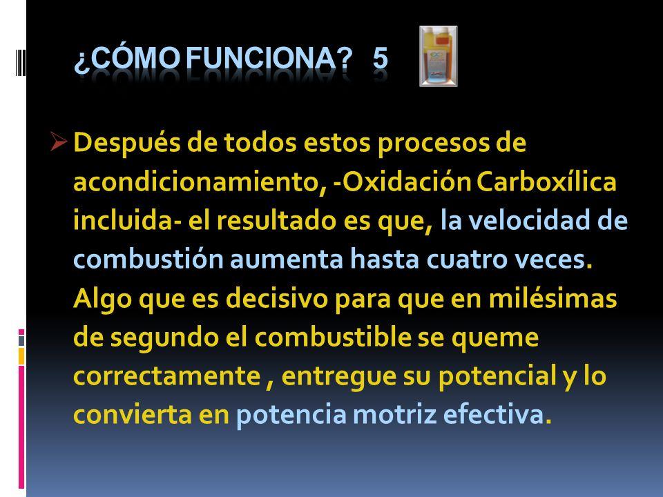 Después de todos estos procesos de acondicionamiento, -Oxidación Carboxílica incluida- el resultado es que, la velocidad de combustión aumenta hasta c