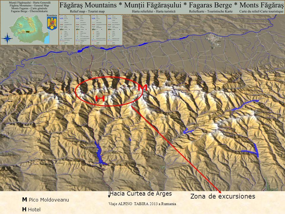 Viaje ALPINO TABIRA 2013 a Rumania TERCER DÍAMONTES FAGARAS En amarillo el recorrido comúny en rojo la ampliación para el grupo A.