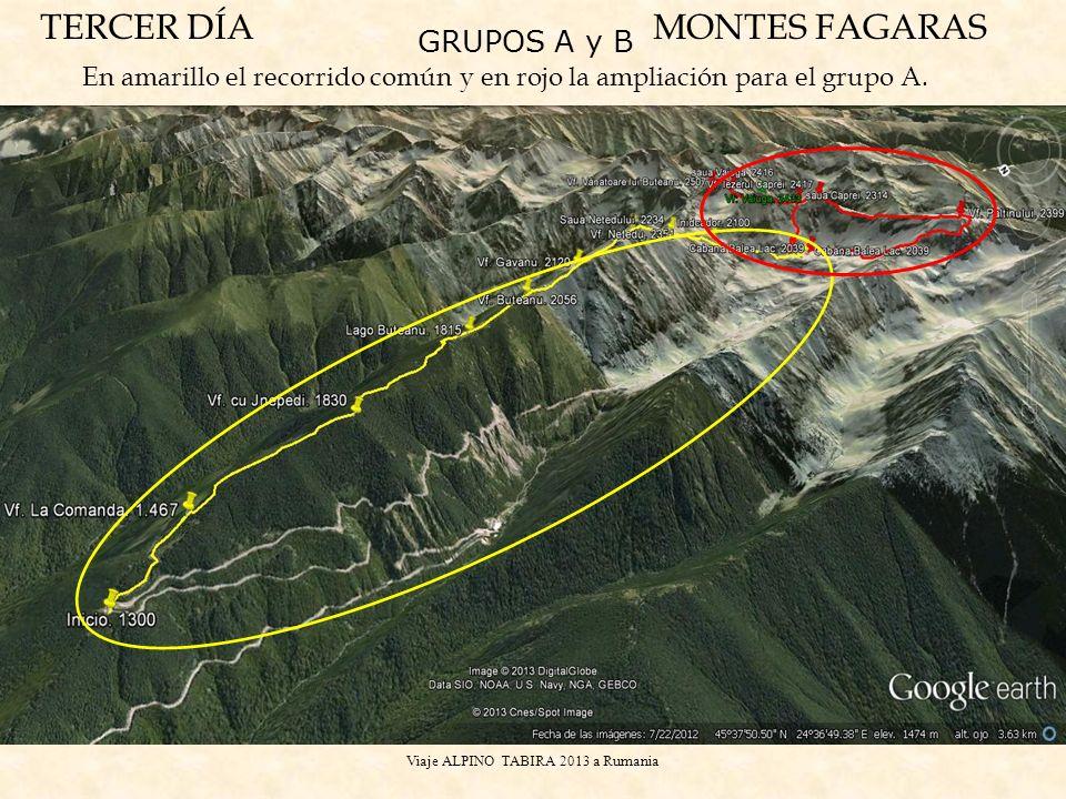 Viaje ALPINO TABIRA 2013 a Rumania TERCER DÍAMONTES FAGARAS En amarillo el recorrido comúny en rojo la ampliación para el grupo A. GRUPOS A y B
