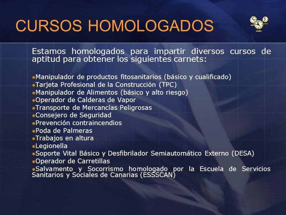 CURSOS HOMOLOGADOS Estamos homologados para impartir diversos cursos de aptitud para obtener los siguientes carnets: Manipulador de productos fitosani