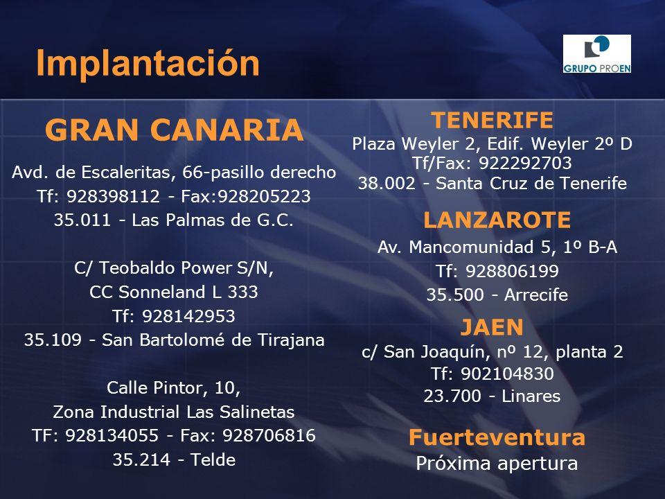 Implantación GRAN CANARIA Avd. de Escaleritas, 66-pasillo derecho Tf: 928398112 - Fax:928205223 35.011 - Las Palmas de G.C. C/ Teobaldo Power S/N, CC