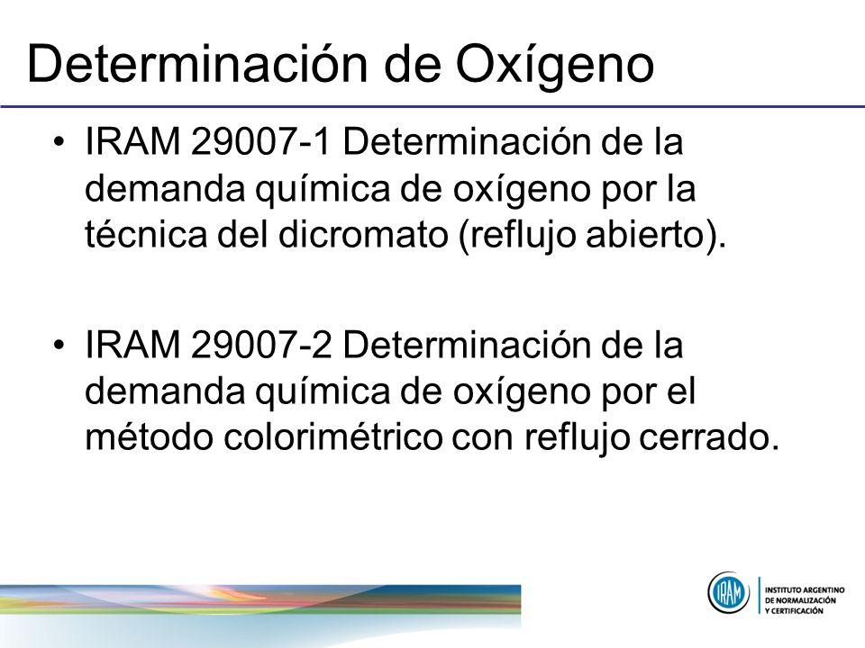 Determinación de Oxígeno IRAM 29007-1 Determinación de la demanda química de oxígeno por la técnica del dicromato (reflujo abierto). IRAM 29007-2 Dete