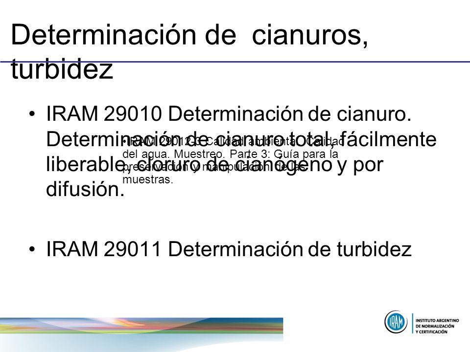 Determinación de cianuros, turbidez IRAM 29010 Determinación de cianuro. Determinación de cianuro total, fácilmente liberable, cloruro de cianógeno y