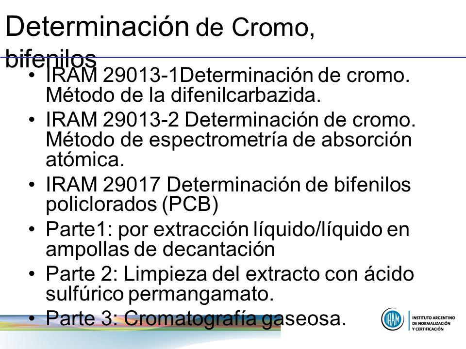 Determinación de Cromo, bifenilos IRAM 29013-1Determinación de cromo. Método de la difenilcarbazida. IRAM 29013-2 Determinación de cromo. Método de es