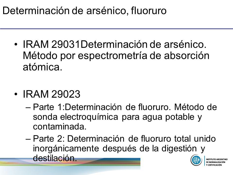 Determinación de arsénico, fluoruro IRAM 29031Determinación de arsénico. Método por espectrometría de absorción atómica. IRAM 29023 –Parte 1:Determina