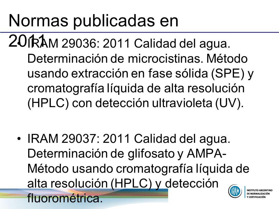 Normas publicadas en 2011 IRAM 29036: 2011 Calidad del agua. Determinación de microcistinas. Método usando extracción en fase sólida (SPE) y cromatogr