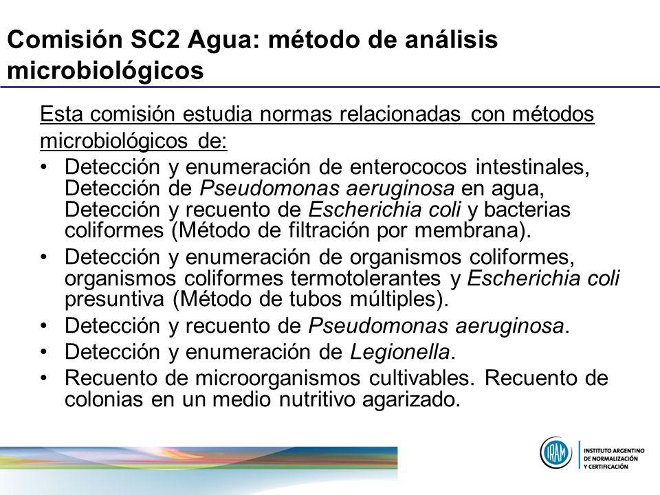 Comisión SC2 Agua: método de análisis microbiológicos Esta comisión estudia normas relacionadas con métodos microbiológicos de: Detección y enumeració