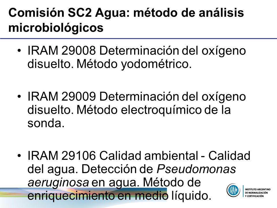 Comisión SC2 Agua: método de análisis microbiológicos IRAM 29008 Determinación del oxígeno disuelto. Método yodométrico. IRAM 29009 Determinación del