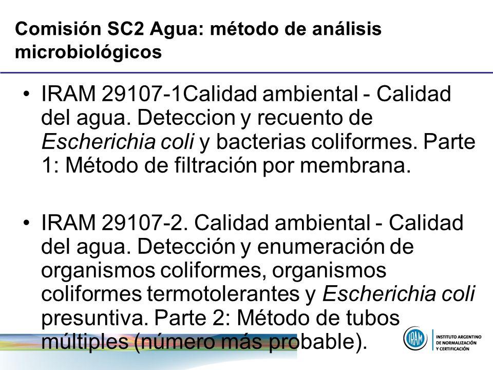Comisión SC2 Agua: método de análisis microbiológicos IRAM 29107-1Calidad ambiental - Calidad del agua. Deteccion y recuento de Escherichia coli y bac