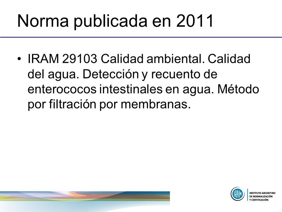 Norma publicada en 2011 IRAM 29103 Calidad ambiental. Calidad del agua. Detección y recuento de enterococos intestinales en agua. Método por filtració