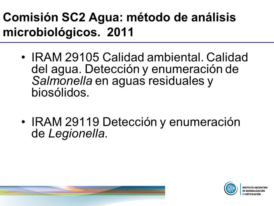Comisión SC2 Agua: método de análisis microbiológicos. 2011 IRAM 29105 Calidad ambiental. Calidad del agua. Detección y enumeración de Salmonella en a