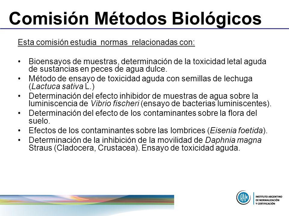 Comisión Métodos Biológicos Esta comisión estudia normas relacionadas con: Bioensayos de muestras, determinación de la toxicidad letal aguda de sustan