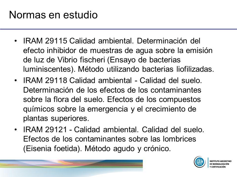 Normas en estudio IRAM 29115 Calidad ambiental. Determinación del efecto inhibidor de muestras de agua sobre la emisión de luz de Vibrio fischeri (Ens