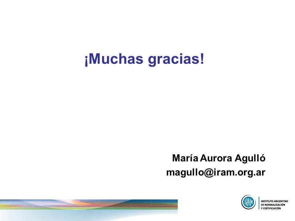 ¡Muchas gracias! María Aurora Agulló magullo@iram.org.ar