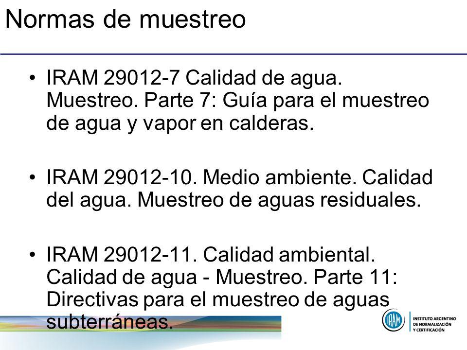 Normas de muestreo IRAM 29012-7 Calidad de agua. Muestreo. Parte 7: Guía para el muestreo de agua y vapor en calderas. IRAM 29012-10. Medio ambiente.