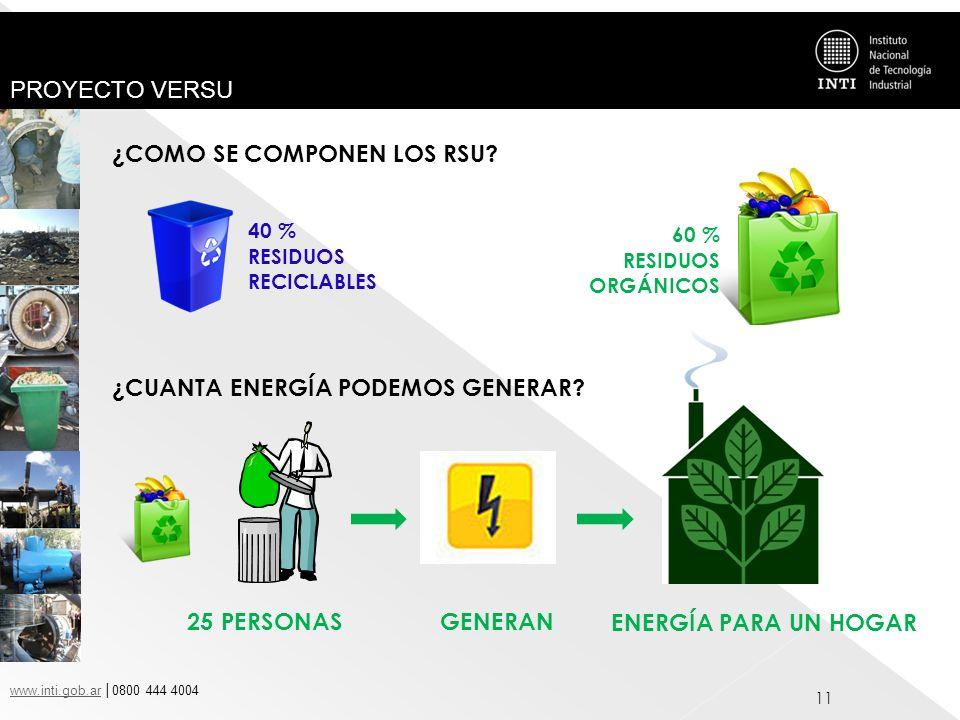 www.inti.gob.arwww.inti.gob.ar 0800 444 4004 PROYECTO VERSU 11 ¿COMO SE COMPONEN LOS RSU? 40 % RESIDUOS RECICLABLES 60 % RESIDUOS ORGÁNICOS ¿CUANTA EN