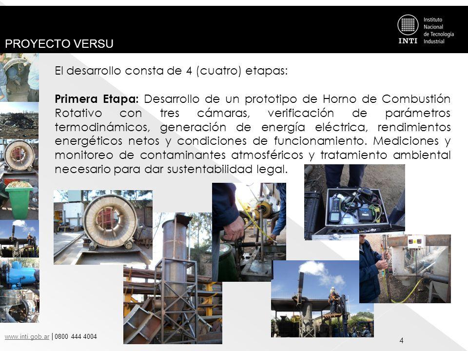 www.inti.gob.arwww.inti.gob.ar 0800 444 4004 PROYECTO VERSU 4 El desarrollo consta de 4 (cuatro) etapas: Primera Etapa: Desarrollo de un prototipo de