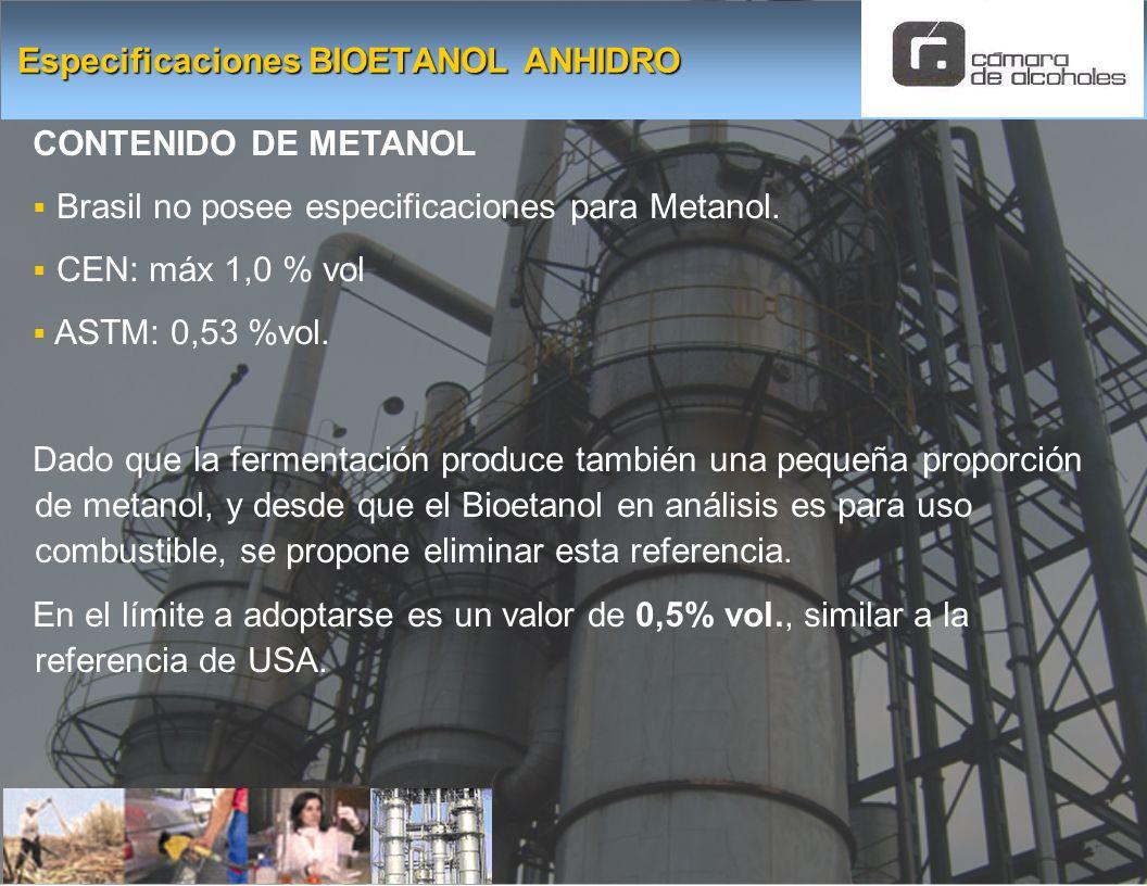 CONTENIDO DE METANOL Brasil no posee especificaciones para Metanol. CEN: máx 1,0 % vol ASTM: 0,53 %vol. Dado que la fermentación produce también una p
