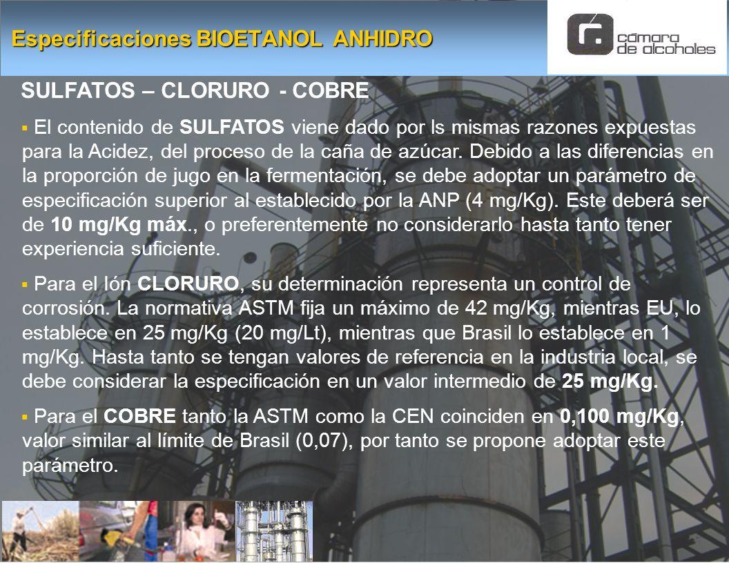Especificaciones BIOETANOL ANHIDRO SULFATOS – CLORURO - COBRE El contenido de SULFATOS viene dado por ls mismas razones expuestas para la Acidez, del
