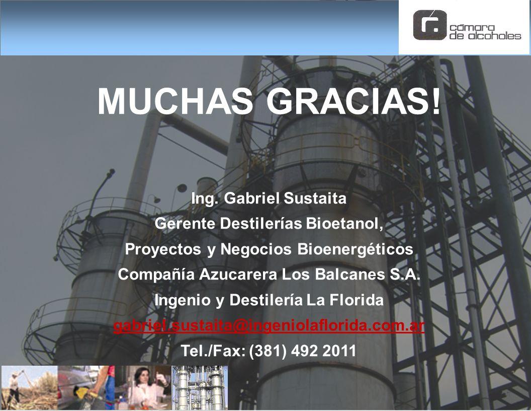 MUCHAS GRACIAS! Ing. Gabriel Sustaita Gerente Destilerías Bioetanol, Proyectos y Negocios Bioenergéticos Compañía Azucarera Los Balcanes S.A. Ingenio