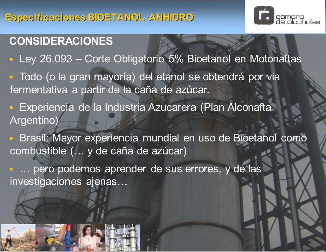 CONSIDERACIONES Ley 26.093 – Corte Obligatorio 5% Bioetanol en Motonaftas Todo (o la gran mayoría) del etanol se obtendrá por via fermentativa a parti