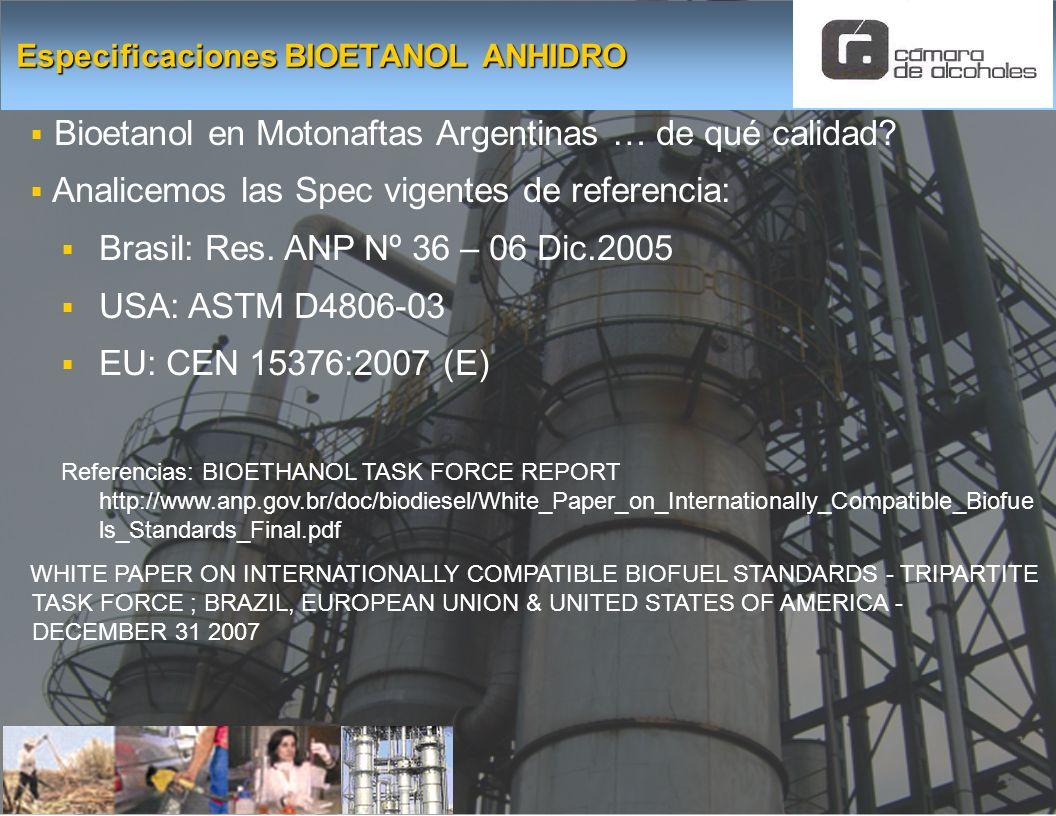 Bioetanol en Motonaftas Argentinas … de qué calidad? Analicemos las Spec vigentes de referencia: Brasil: Res. ANP Nº 36 – 06 Dic.2005 USA: ASTM D4806-
