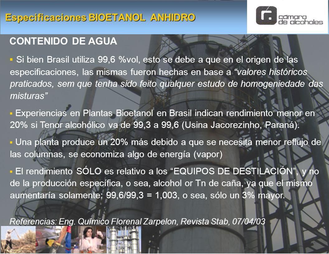 CONTENIDO DE AGUA Si bien Brasil utiliza 99,6 %vol, esto se debe a que en el origen de las especificaciones, las mismas fueron hechas en base a valore