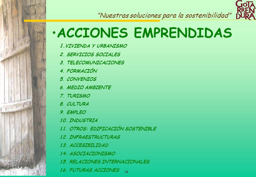 14 Nuestras soluciones para la sostenibilidad ACCIONES EMPRENDIDAS 1. VIVIENDA Y URBANISMO 2. SERVICIOS SOCIALES 3. TELECOMUNICACIONES 4. FORMACIÓN 5.