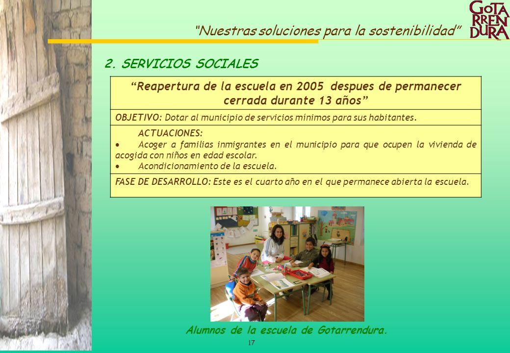 17 Nuestras soluciones para la sostenibilidad Reapertura de la escuela en 2005 despues de permanecer cerrada durante 13 años OBJETIVO: Dotar al munici