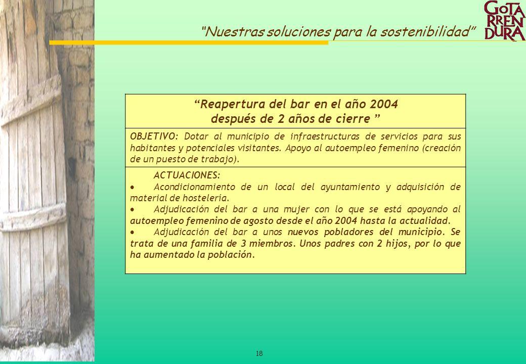 18 Nuestras soluciones para la sostenibilidad Reapertura del bar en el año 2004 después de 2 años de cierre OBJETIVO: Dotar al municipio de infraestru