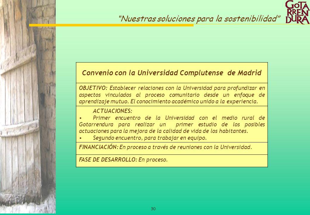 30 Nuestras soluciones para la sostenibilidad Convenio con la Universidad Complutense de Madrid OBJETIVO: Establecer relaciones con la Universidad par