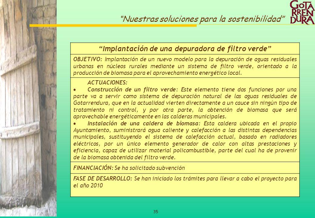 35 Nuestras soluciones para la sostenibilidad Implantación de una depuradora de filtro verde OBJETIVO: Implantación de un nuevo modelo para la depurac