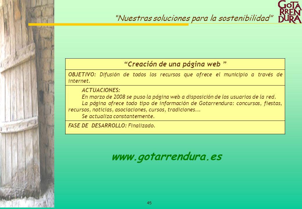 45 Nuestras soluciones para la sostenibilidad Creación de una página web OBJETIVO: Difusión de todos los recursos que ofrece el municipio a través de