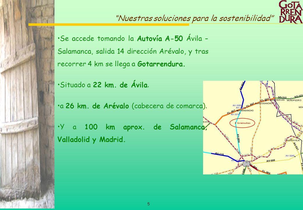 5 Nuestras soluciones para la sostenibilidad Se accede tomando la Autovía A-50 Ávila – Salamanca, salida 14 dirección Arévalo, y tras recorrer 4 km se