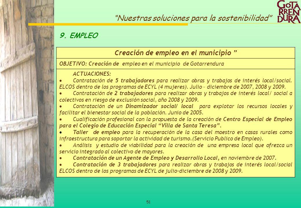 51 Nuestras soluciones para la sostenibilidad 9. EMPLEO Creación de empleo en el municipio OBJETIVO: Creación de empleo en el municipio de Gotarrendur