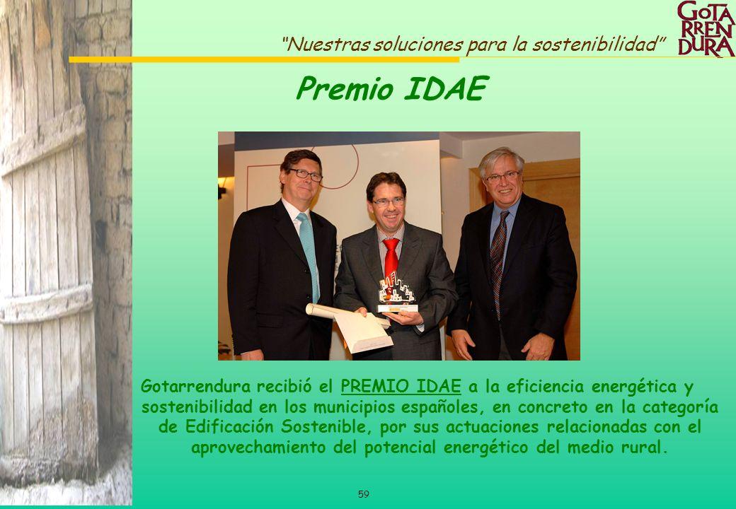 59 Nuestras soluciones para la sostenibilidad Gotarrendura recibió el PREMIO IDAE a la eficiencia energética y sostenibilidad en los municipios españo