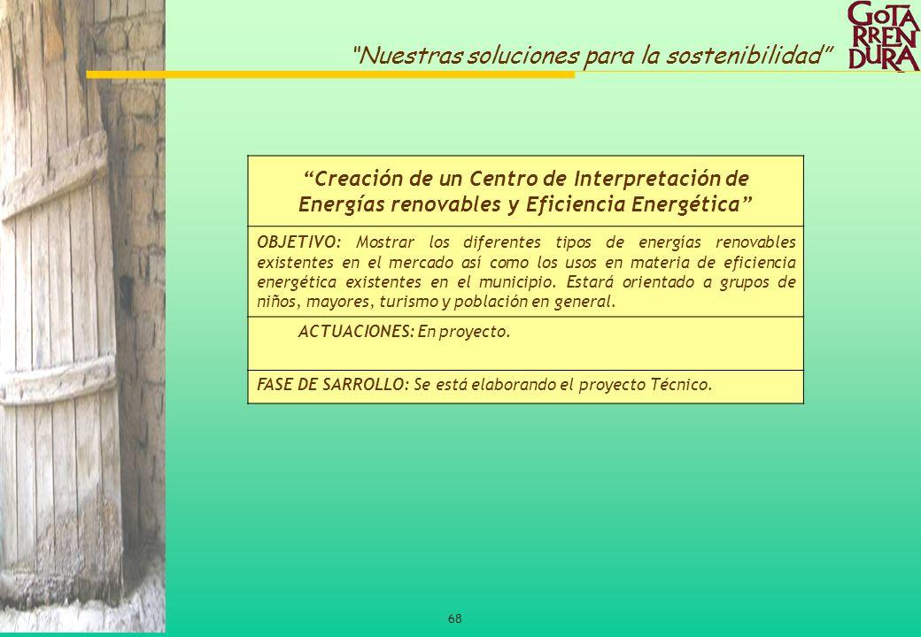 68 Nuestras soluciones para la sostenibilidad Creación de un Centro de Interpretación de Energías renovables y Eficiencia Energética OBJETIVO: Mostrar