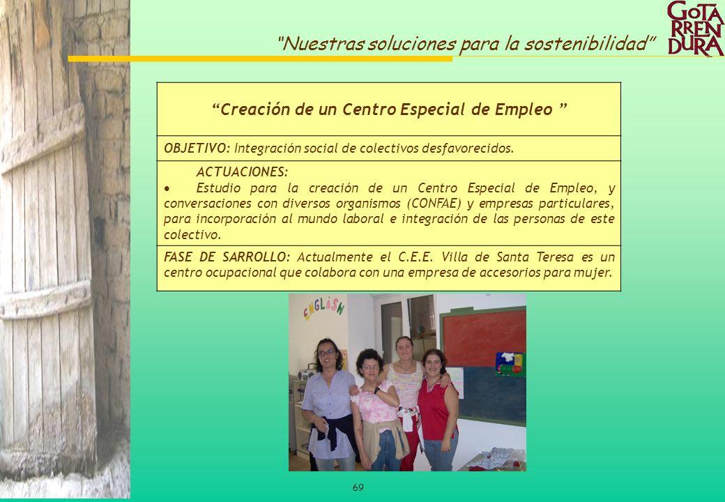 69 Nuestras soluciones para la sostenibilidad Creación de un Centro Especial de Empleo OBJETIVO: Integración social de colectivos desfavorecidos. ACTU
