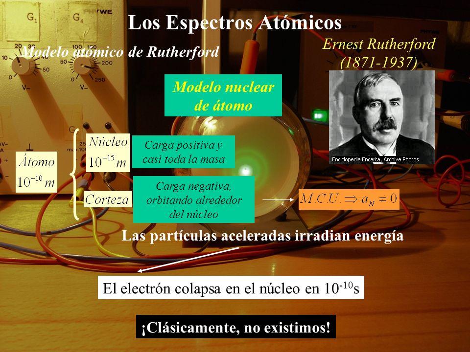 Los Espectros Atómicos Modelo nuclear de átomo Modelo atómico de Rutherford Carga positiva y casi toda la masa Carga negativa, orbitando alrededor del núcleo Las partículas aceleradas irradian energía El electrón colapsa en el núcleo en 10 -10 s ¡Clásicamente, no existimos.