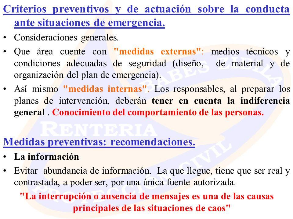 Criterios preventivos y de actuación sobre la conducta ante situaciones de emergencia. Consideraciones generales. Que área cuente con